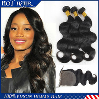 3pcs Body Wave hair bundles with closure 6a Indian Unprocessed Virgin Hair Body Wave weaves cheap high quality hair extensions