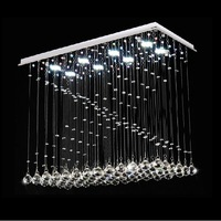 Free shipping Modern rectangle design led crystal chandelier L80*W38*H62cm lustres de cristal modern lamps for dining room