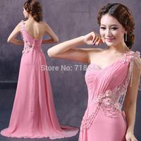 2014 Sexy V-neck one shoulder design long evening dress swarovski crystal sweet oblique flower slim evening dress full dress hot