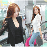 Resuli 2014 New Arrival 1PC Sexy Women Long Sleeve Lace Crochet Blazer Small Blazer Jacket Free shipping&Wholesale