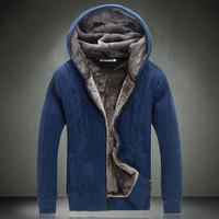 Mens Winter Warm Cardigan Outerwear New Arrival Men Hoody Sportwear Coat Male Thick Warm Coat sweater European Style Fur Jacket