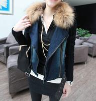 Winter new Korean Women quilted plush raccoon fur collar really dense line then fight dark denim jacket