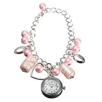 2 pcs/Lot  _ Women Beads Heart Shape Chain Bracelet Quartz Analogue Wrist Watch
