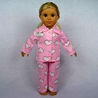 "Doll Clothes Fits 18"" American Girl Doll, Print Heart Pink Pajamas,100% Cotton, 2pcs, Girl Birthday Present, Xmas Gift,  B02"