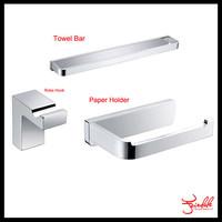 Free Shipping-High quality Bath Hardware Sets brass chrome paper holder+robe hook+single towel bar Bathroom Accessories set
