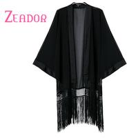 2014 Autumn Winter Women's Brand Cardigan Black Tassel Decorated Femininas Cardigans Big Size Kimono Cardigans