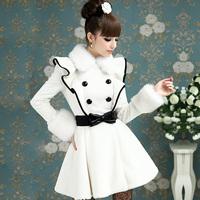 2014 new winter Flounced white fox fur collar princess dress Woolen coat Double-breasted long coat