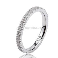 GNJ0478 NEW Fashion Full CZ Finger Ring Eternity Wedding Rings for Women Genuine 925 sterling Silver Ring Free Shipping