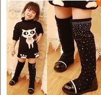 Parent-child shoes princess elegant rhinestone girl high-leg boots 2014 children shoes female autumn and winter