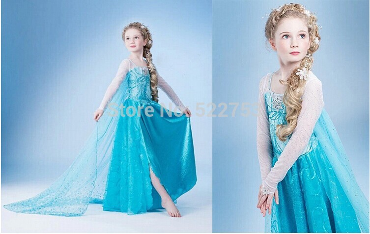 Free shipping 2014 new elsa dress up gown costume ice princess queen