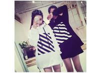 2014 Stripe Pattern Loose Hoodies Fashion Autumn Pullover Women New Girlfriends Clothing Sweatshirts WE1063