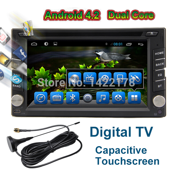 GPS Navigation Digital TV +Capacitive Touch Screen+Universal 2 Din Android 4.2 Car Radio CD DVD Player Car PC Stereo Head Unit(China (Mainland))