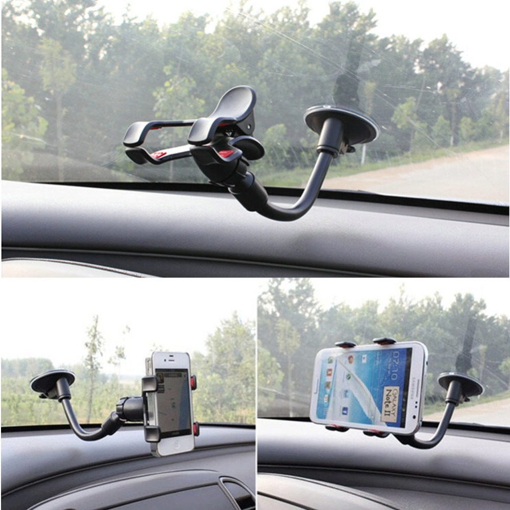 Universal Car Holder Windshield Mount Bracket For iphone 5 Mobile Phone Holder DVR GPS Stand Rotating 360 Degree Goose Neck Clip(China (Mainland))