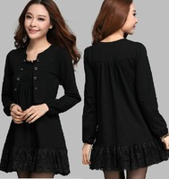 2014 new design big size loose slimming lace patchwork faux two long sleeves t shirt elegant spring autumn basic t-shirt 3XL