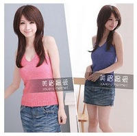 Summer Hot new Korean Liangsi small halter top vest knitted cotton primer shirt Women