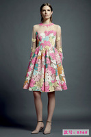 2014 Women's Autumn Winter Dresses Full Sleeve Catwalk Silk Organza Embroidery Elegant Dress
