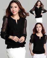 2014 plus size women big size long/short sleeves chiffon Hook flower V neck loose slim elegant t shirt  XXXL XXXXL spring autumn