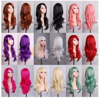 70cm Full Wig Anime Lolita Cosplay Long wavy heat resistant 11 colors sexy women Qualtiy Girls Female Curly Wig Free Shipping