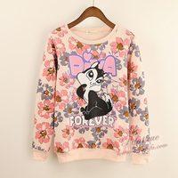 Cartoon Cute Flowers Rabbit Hoodies Women Cotton Sweatshirt Free Shipping Autumn Winter Fashion Sweater Top A821