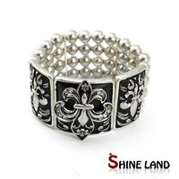 Silver Plated Black Color Steampunk Style Adjustable Bracelet Bangle For Women Hollow Out Alloy Beads Pulseiras Feminias