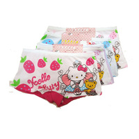 Crown kt cat small baby girls cotton printed boxer briefs for 2-6 year old boy pants kitty