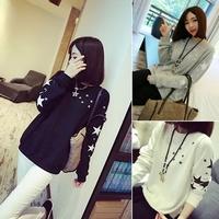 2014 Women Star Printed Loose Pullover Fashion New Autumn Hoodies Casual Long Sleeve Sweatshirts WE1065