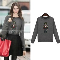 2014 new winter pullover robot print  long sleeve o neck knitted sweater for women free shipping