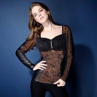 Winter Womens Fleece Shapewear Outerwear Thicken Body Shaper Lace Long Sleeve Thermal Underwear Ladies Tops Clothes