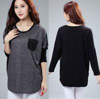 2014 new design big size loose slimming batwing sleeves patchwork long sleeves t shirt elegant spring autumn basic t-shirt 3XL