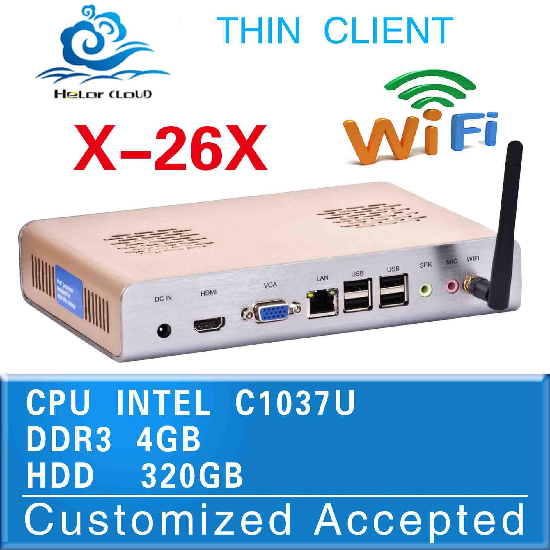 the most popular best quality mini computer x-26x fanless c1037u network mini business pc 4g ram 320g hdd thin client wif minipc(China (Mainland))