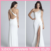 Sparkly Homecoming Dresses Sheath Slit Side White Chiffon One Shoulder Crystal Vestido Curto De Renda Festa Sexy Cocktail Dress
