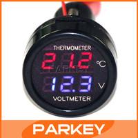 DC Voltage Temperature Measurement 12V/24V 2in1 Red Blue LED battery voltage monitoring SUV/Taxi/Bus/Large trucks etc #100007