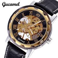 2014 New mens watches top brand luxury Mechanical Hand Wind Wrist Watch Business Roman Digital Genuine leather Waterproof clock
