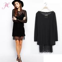 2014 Women Autumn Dress Long Sleeve Perspective Knit Lace Casual Dress Brand European Style Vestidos