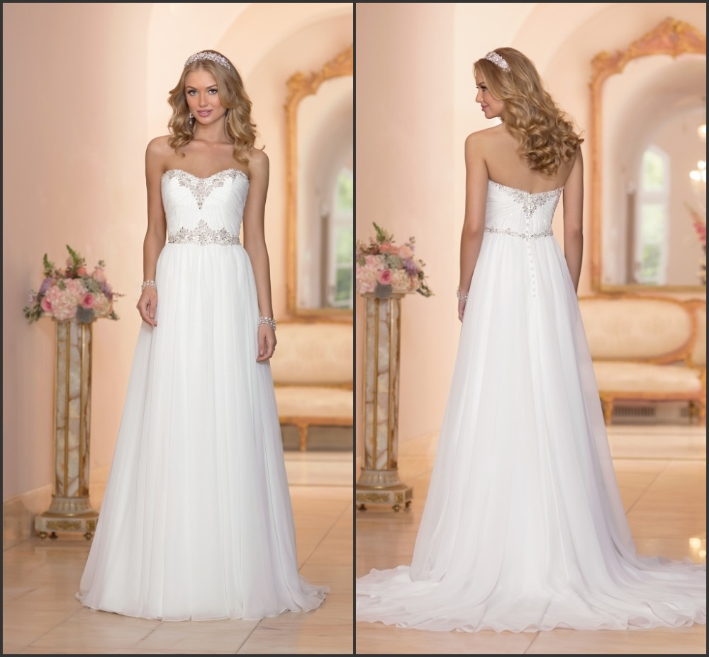 Wedding Dress Patterns Empire Line : Fashionable a line bridal gown beaded pattern sweetheart neckline back