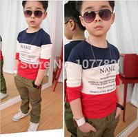 Retail 1 Pcs Children Long-Sleeve T Shirts New 2014 Spring Autumn Cotton Baby Basic Shirt Kids Tops New High Boy's T-shirtCC0556