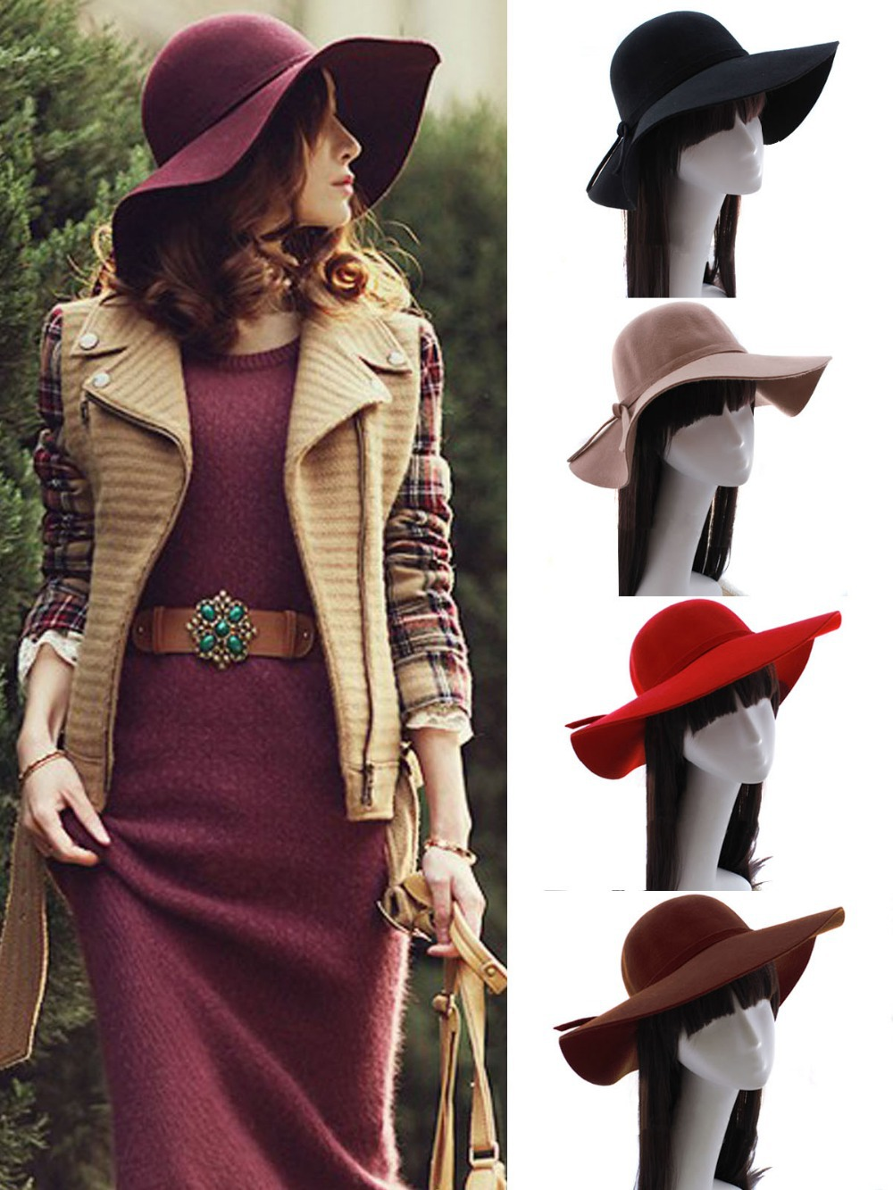 New Vintage Women Lady Wide Brim Wool felt Bowler Fedora Hats Floppy Cloche Cap + Cable Tie(China (Mainland))
