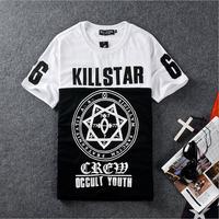 DQ-45 Harajuku Summer KILLSTAR tee shirt men Bandana shirt Hip hop Sport tshirt Rock Pyrex Black star