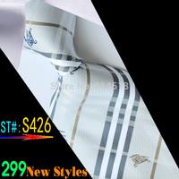 New Classic Solid Color Stripes JACQUARD WOVEN Silk Men's Tie Necktie