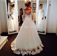 Elegant Design Arabian Off the Shoulder A Line Appliqued Lace Long Sleeve Wedding Dresses