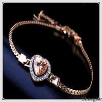 High quality Fine Jewelry Crystal Heart Gold chain Bracelet Fashion Charming Rhinestone girls bracelets for women