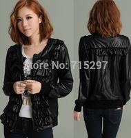 2014 new design big size long sleeves women jacket PU outwear spring autumn loose slim female coat plus size XXXL ALL MATCH