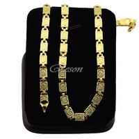 1pcs Wholesale Retails Men's Women's 18K Yellow Gold Filled Link Carve Necklace Chains E250