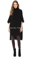 2014 Fashion Bf Style Winter Fall Sweaters Pullover Turtleneck Black Oversized Sweater Half Sleeve Sweater Women Long Sweaters