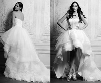 2014 Beach Wedding Dresses Lace Ball Gowns Corset Customize  Backless White Sweetheart Long Short Tiers Beach Dresses Knee