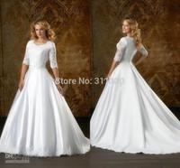 2014 Modest Sheer Long Sleeve Satin Ball Gown Wedding Dresses Sweetheart Neckline beaded Appliques Court Train Church Gowns Sale