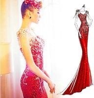 Fashion paillette fish tail V-neck long court train red mermaid bridal evening dress elegant women dresses luxury party gown