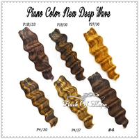 "18"" 110g/PC 6A Piano Colors Brazilian New Deep Wave Remy Hair Extensions Hair Weave Weft 3Pcs/Lot  Color P1B/30 P1B/33 P4/30"