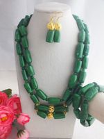 W-1151 New Design Chunky African Jewelry set Green  2Rows Nigerian Wedding Coral Beads Necklace Set Free Shipping