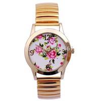 Christmas Gift Shopping! Golden Women Ladies Rose Flower Spring Steel Bracelet Dress Watch Japanese Movement